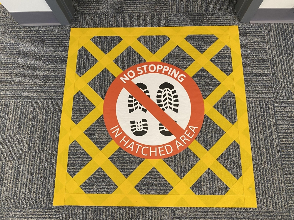 Stop Here Floor Sticker in Hatched Area