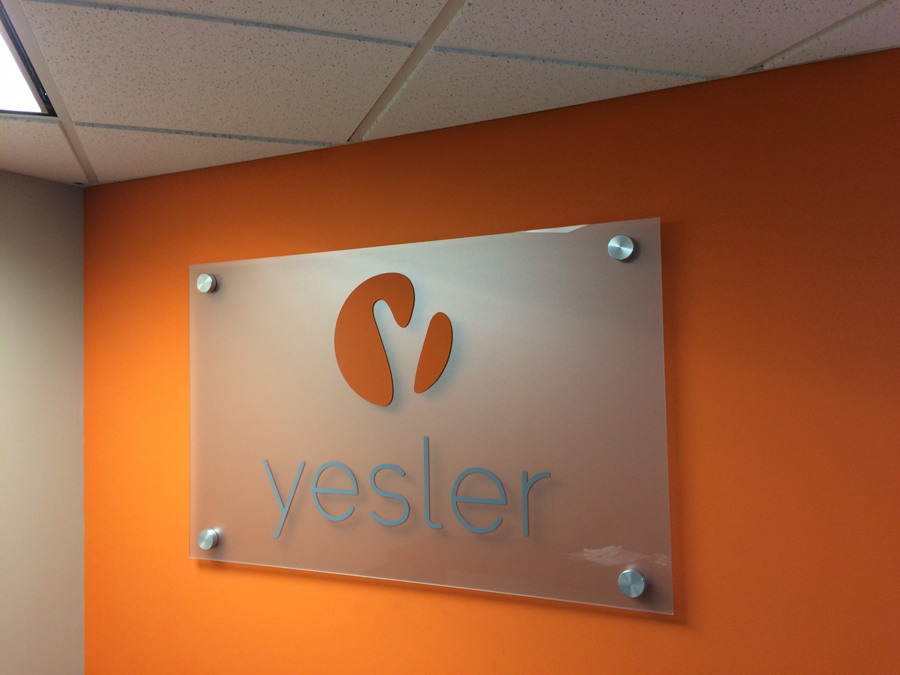 Yesler etched glass Sign Studios