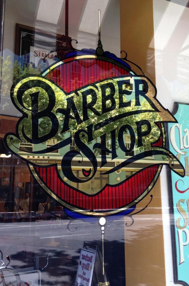 Barber Shop Gold Leaf Window Lettering