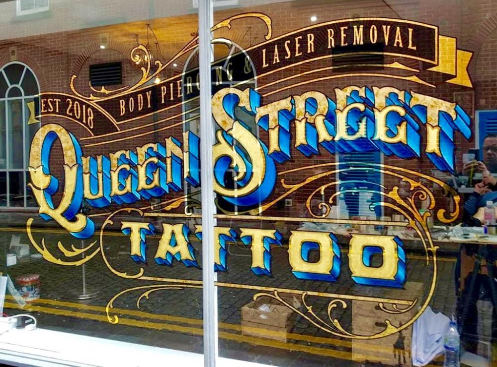 Queen Street Tattoo Gold Leaf Window Lettering