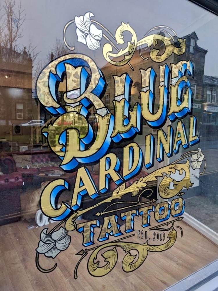Blue Cardinal Tattoo Gold Leaf Window Lettering
