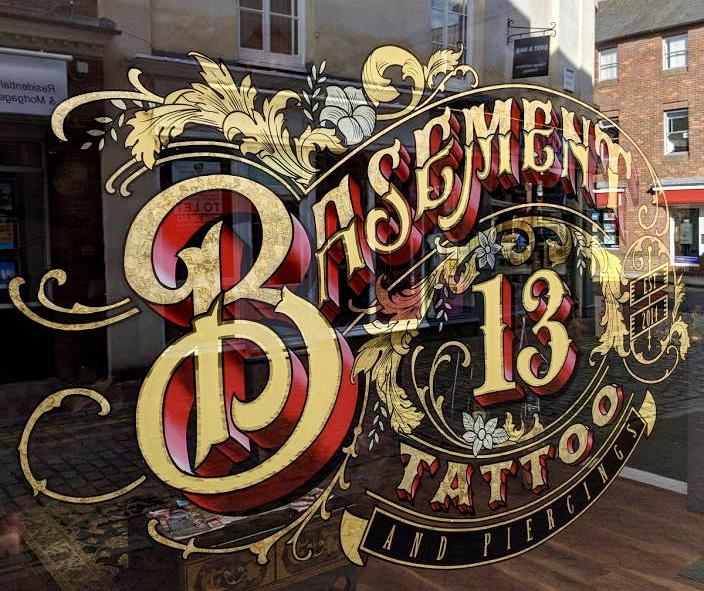 Basement 13 Tattoo Gold Leaf Window Lettering
