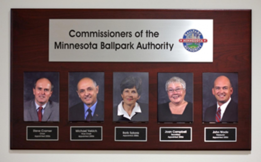 Commissioners of the Minnesota Ballpark Authority Plaque Sign Studios