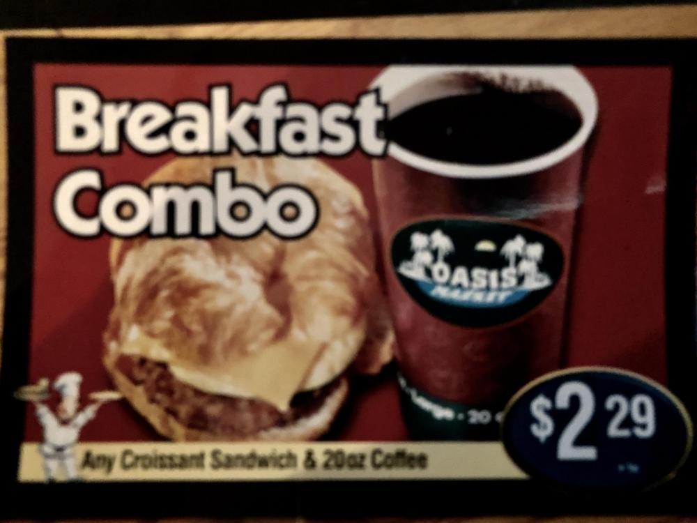 Breakfast Combo Menu Board