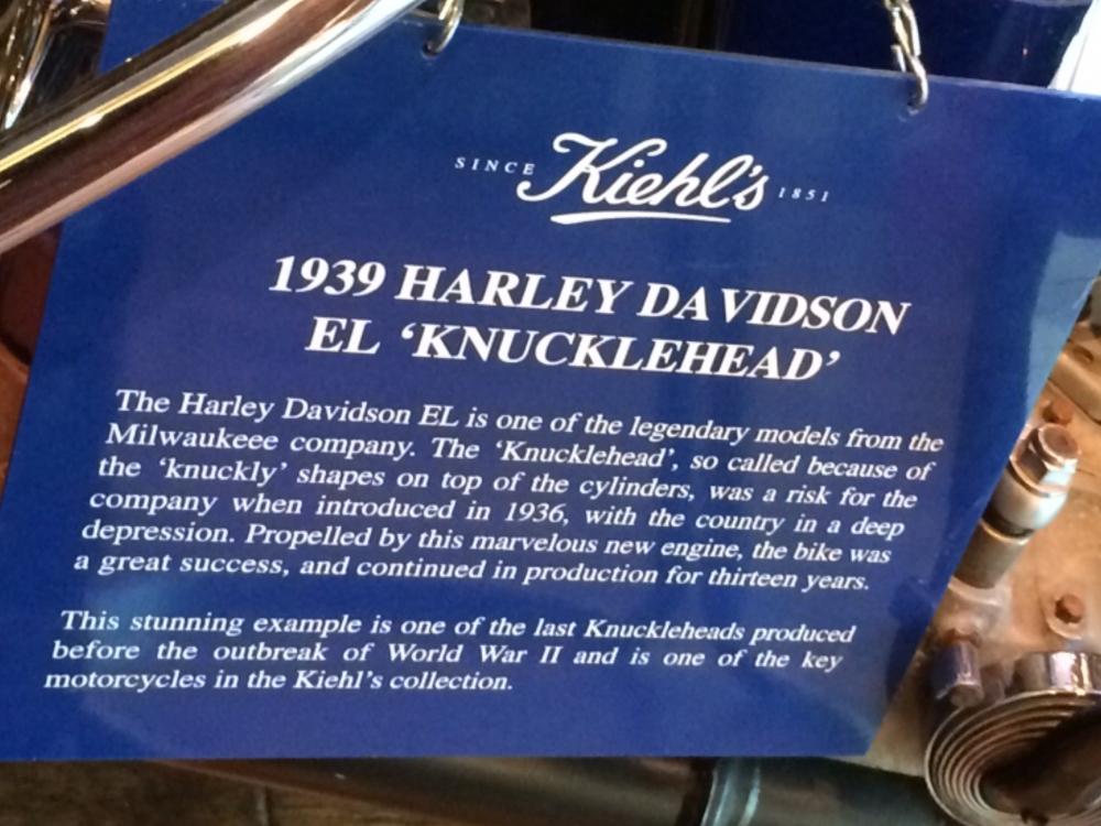 Kiehl's 1939 Harley Davidson Name Plate closeup