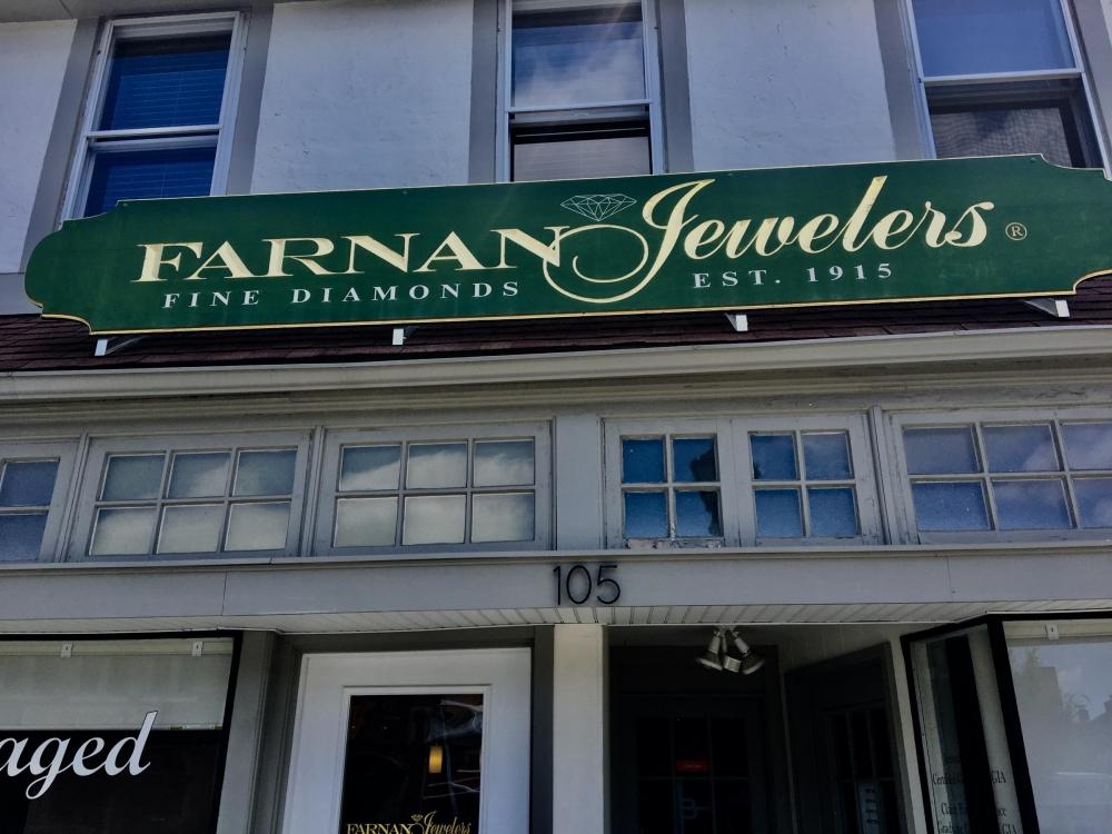 Farnan Jeweler's Redwood Sign