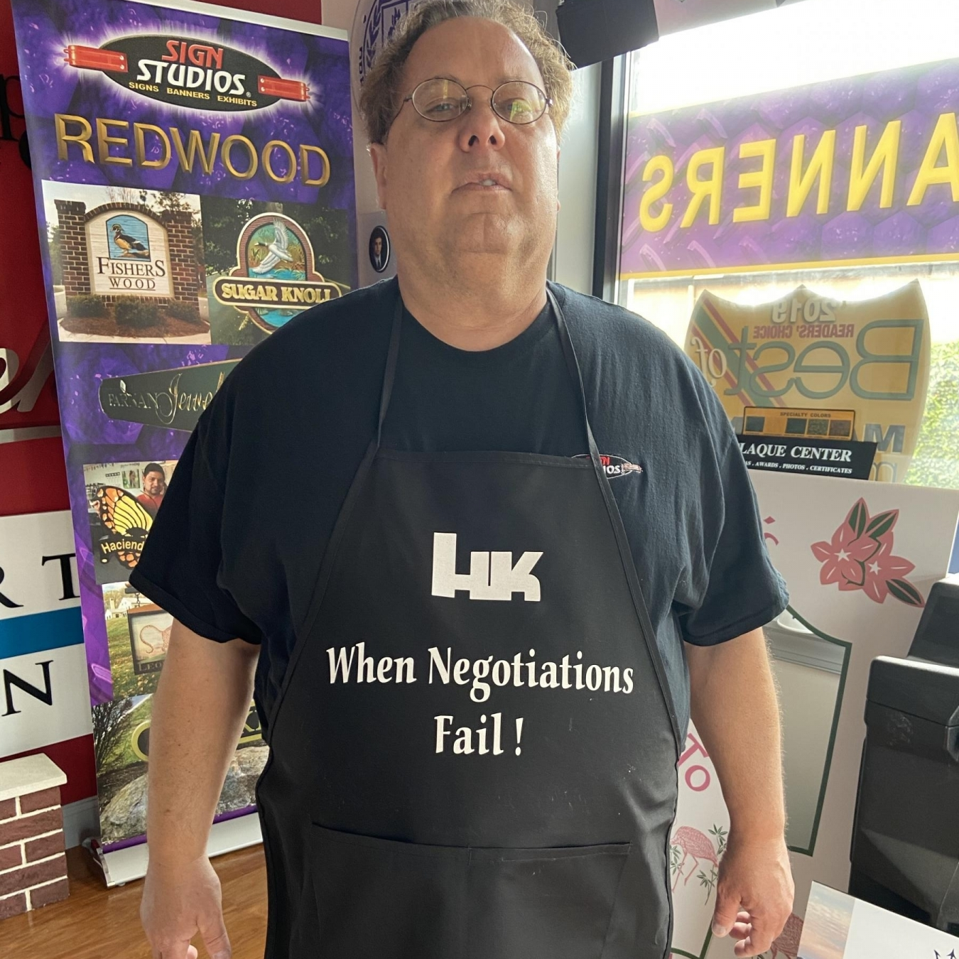 HK When Negotiations Fail Apron Worn