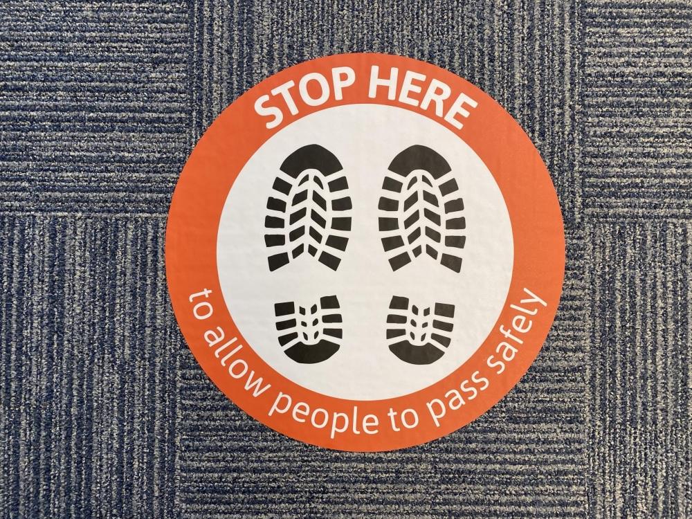Stop Here Feet Floor Sticker