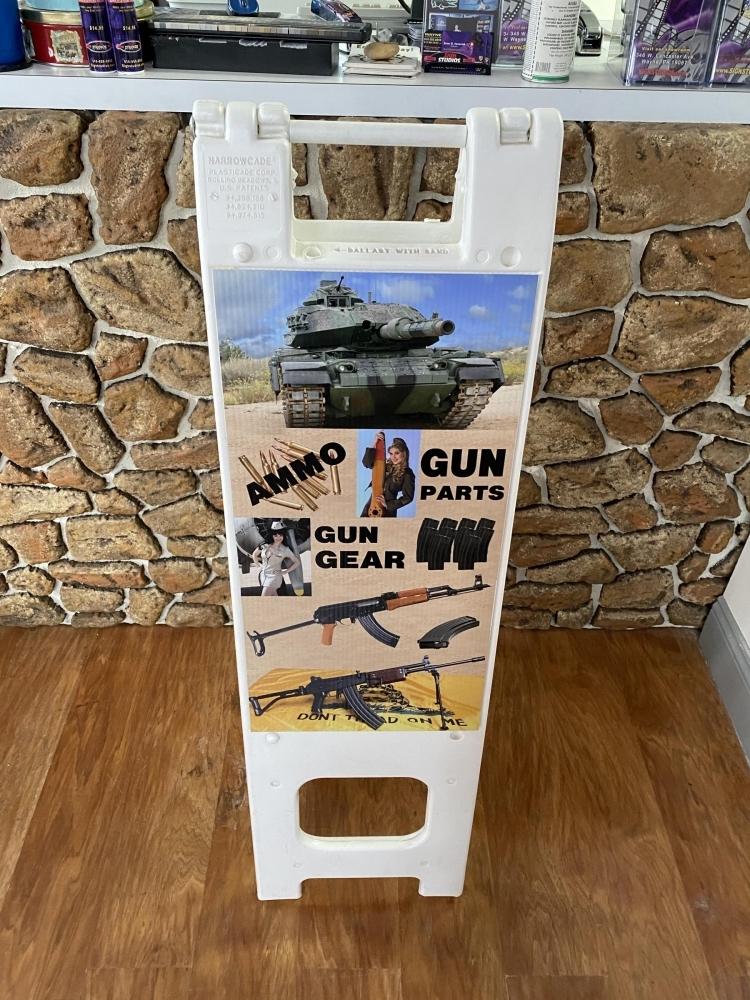 Gun Show Plastic A-Frame closeup