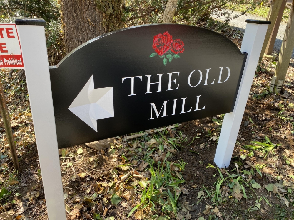 The Old Mill Redwood Sign